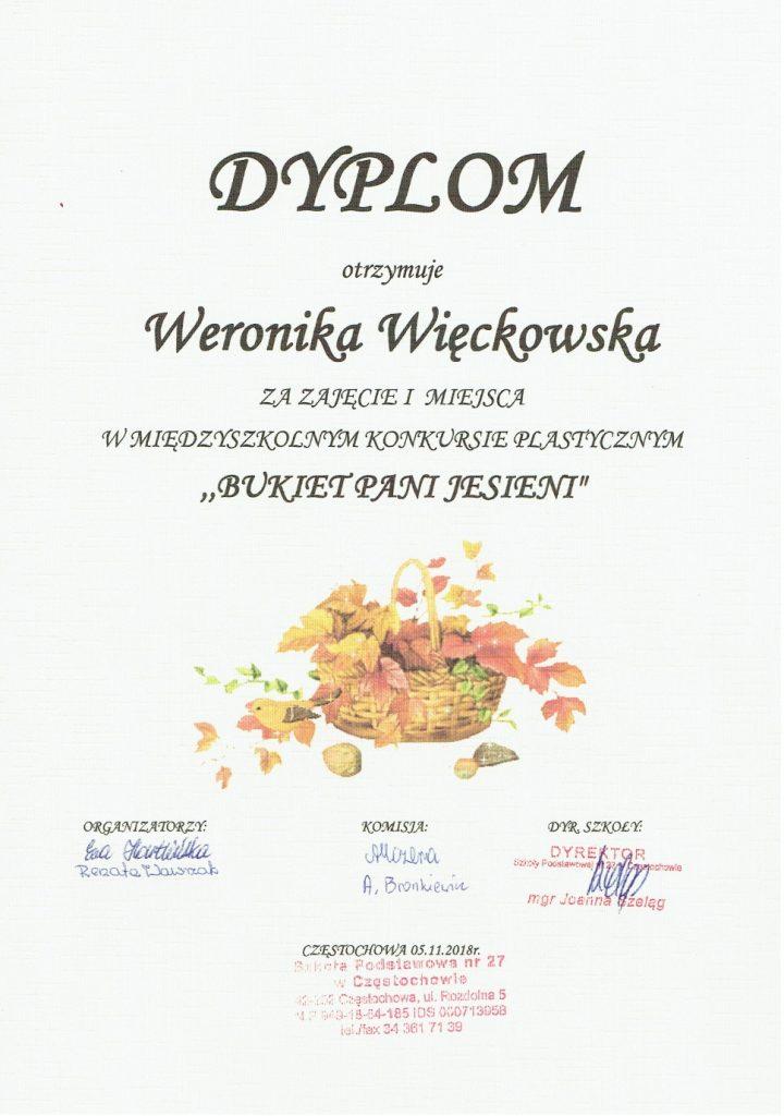 Dyplom Weroniki Więckowskiej