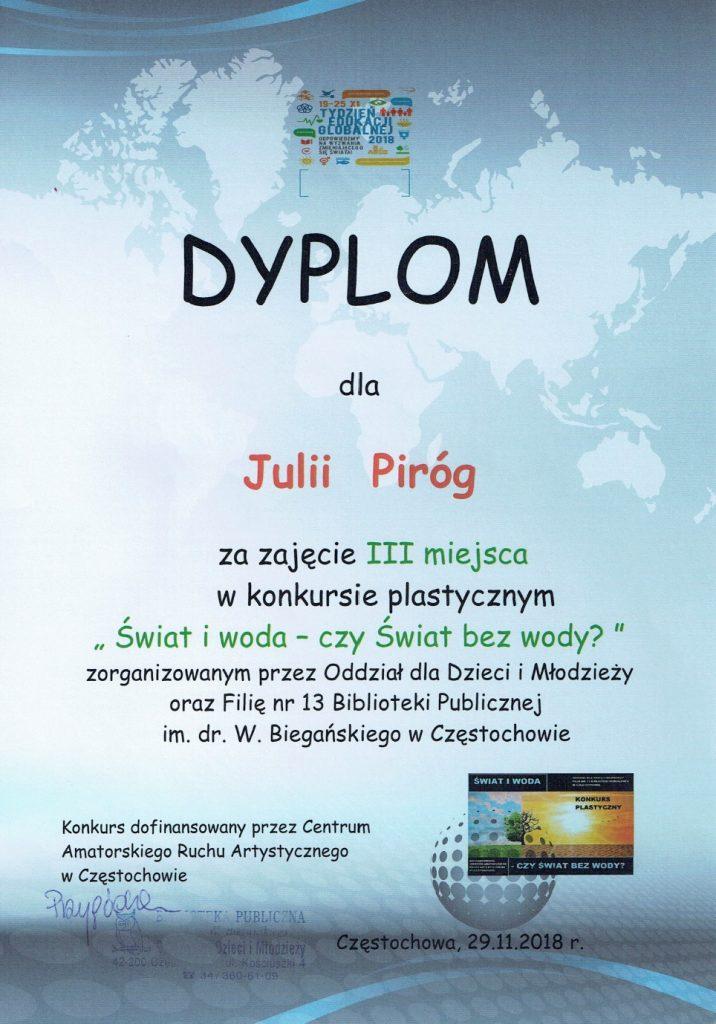 Dyplom Julii Piróg
