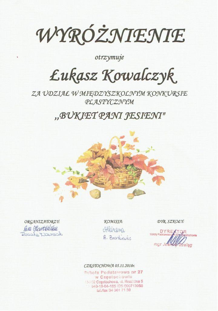 Dyplom Łukasza Kowalczyka