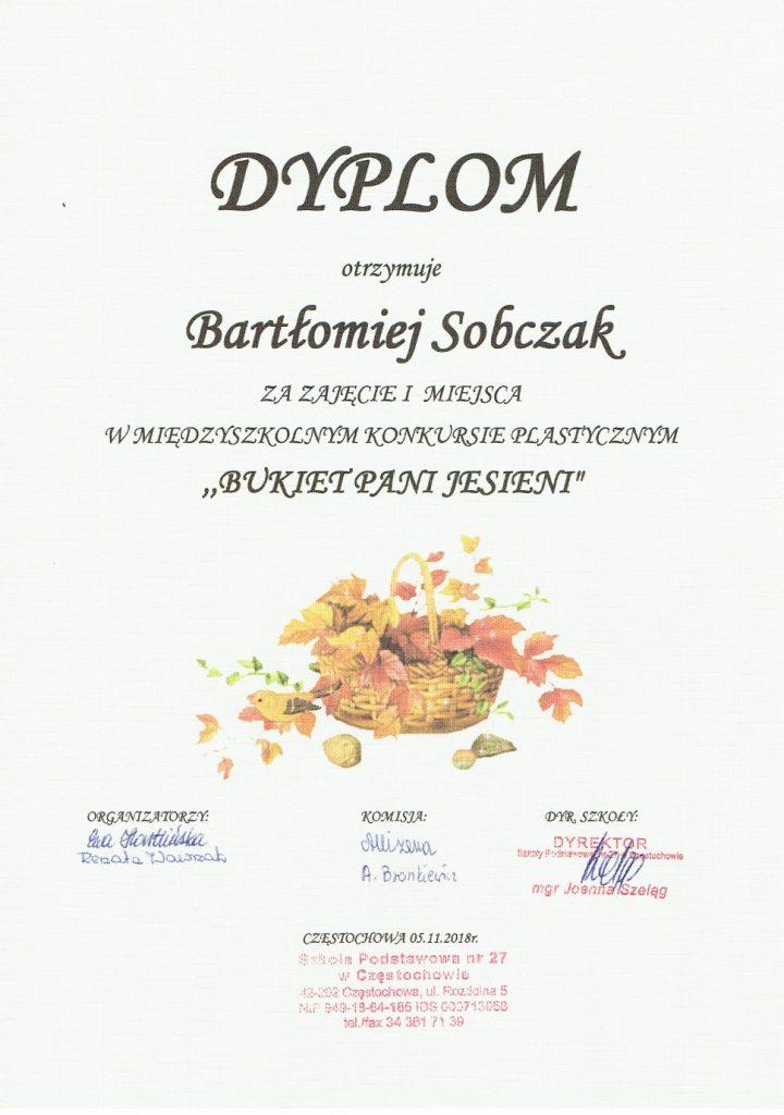 Dyplom Bartłomieja Sobczaka