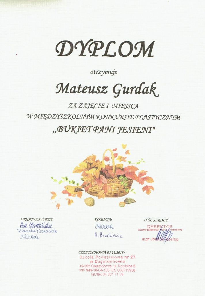 Dyplom Mateusza Gurdaka