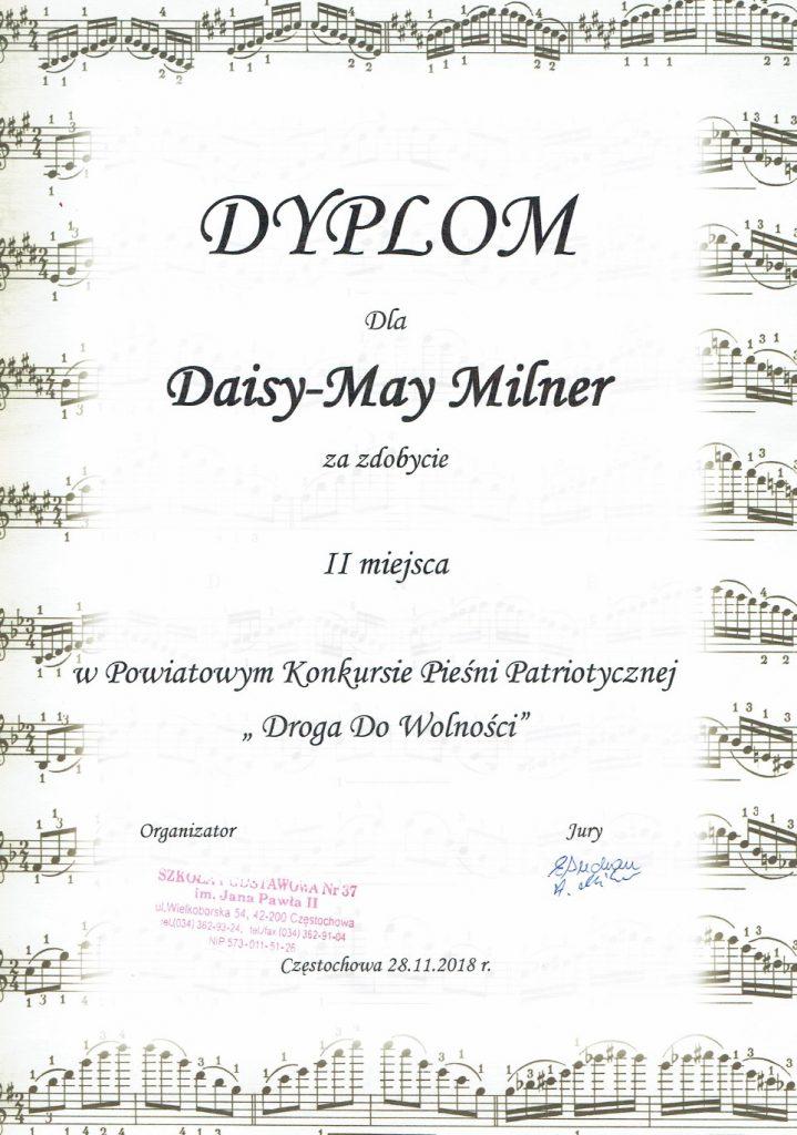 Dyplom Daisy-May Milner